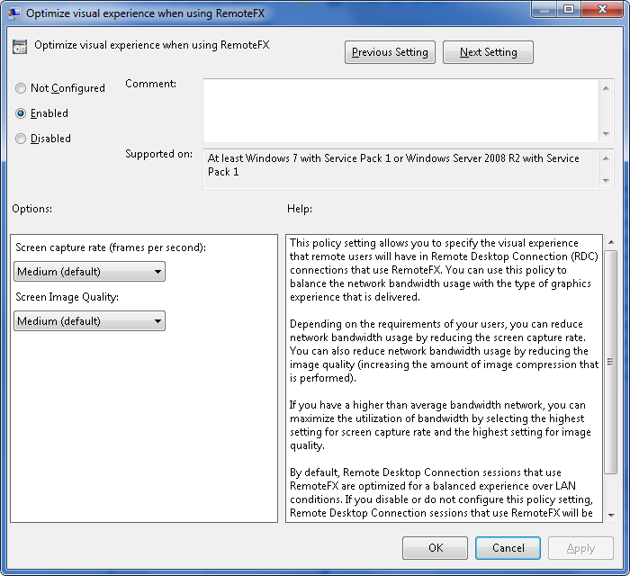 Optimizing RDP for casual use (Windows 7 SP1, RemoteFX