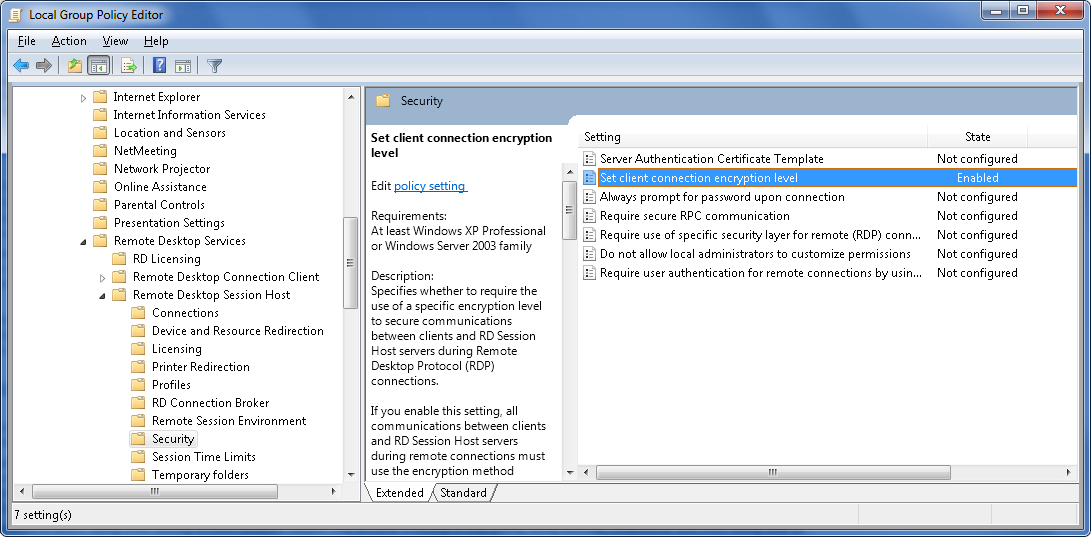 Optimizing RDP for casual use (Windows 7 SP1, RemoteFX) ⋆ Tedds blog